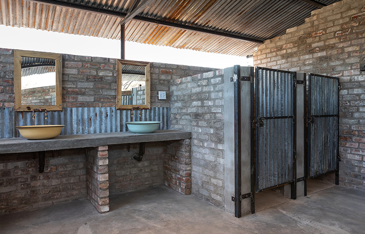 Shared bathroom facilities at the Group campsites